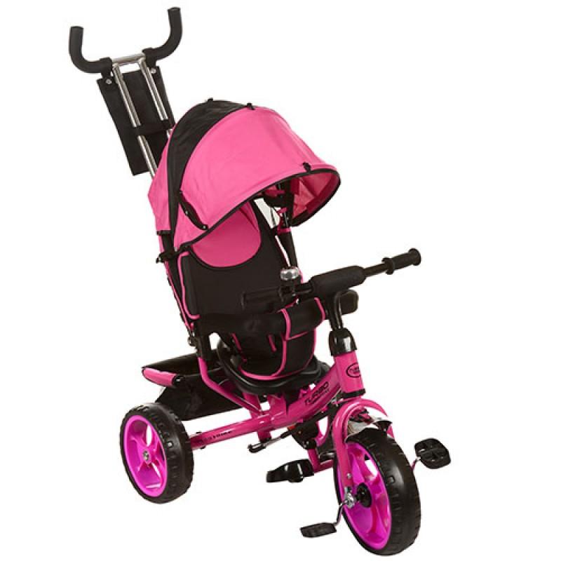 Велосипед M 3113-6 (1шт)три кол.EVA (11/9),колясочный,своб.ход колеса,тормоз,подшипн.,розовый