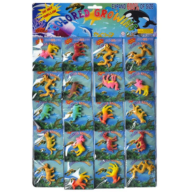 Динозавр 2856-dino (20ШТ НА ЛИСТЕ) растущий, 6см, в кульке6,5-7,5см, 28-42-1см