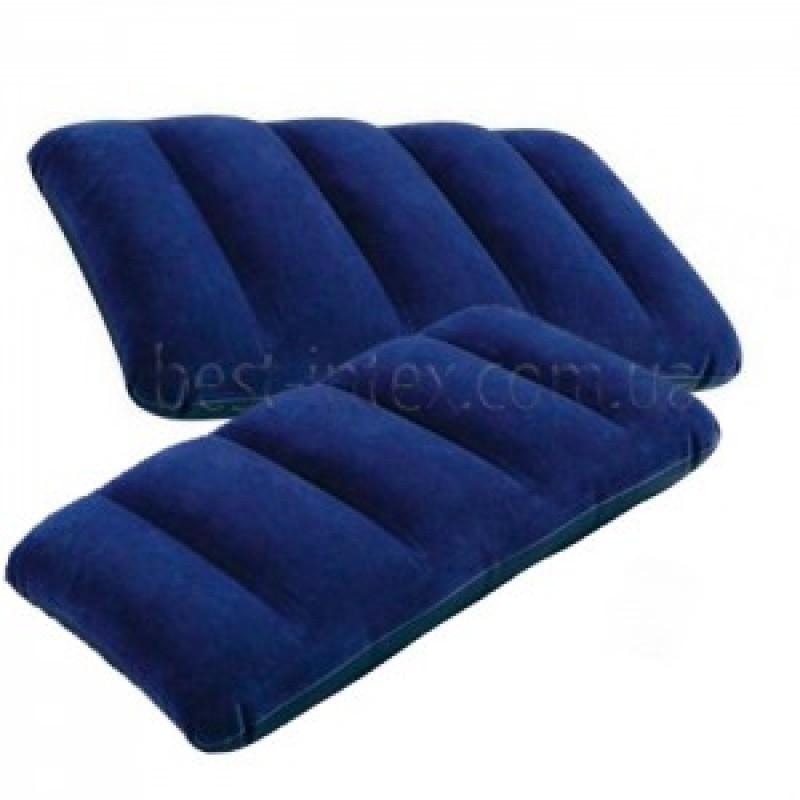 Подушка 68672 (24шт) надувная, 43-28-9см, синяя, в кор-ке, 19-13-4см